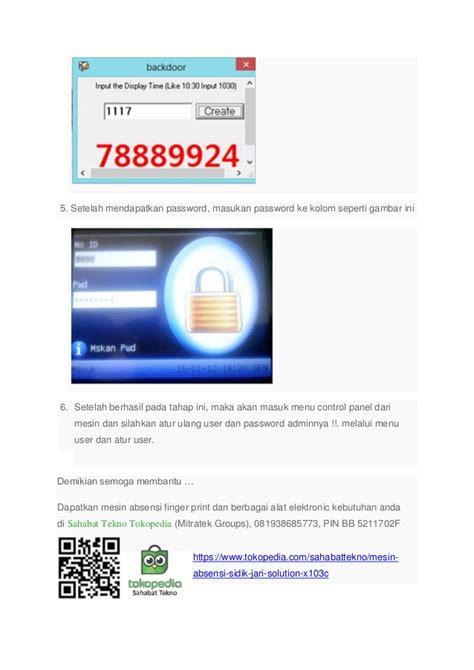 Mesin Absensi Solution X103c panduan reset password mesin absensi finger print