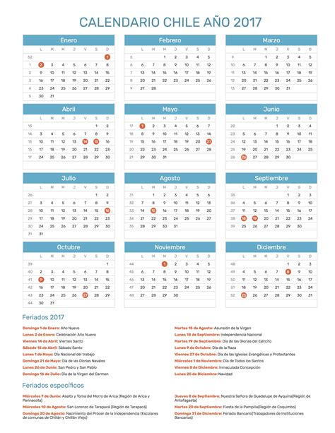 Calendario 2017 Excel Con Festivos Calendario Ao 2017 Chile Con Feriados