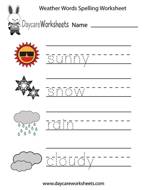 Spelling Words Printable Worksheets by Free Printable Weather Words Spelling Worksheet For Preschool