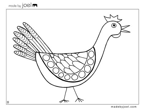 Made By Joel 187 Chicken Coloring Sheet Colouring In Templates