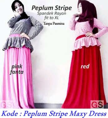 Dress Gamis Kaos Maxy Daily Harga Murah Bandung 1 grosir baju muslim murah peplum stripe maxy dress