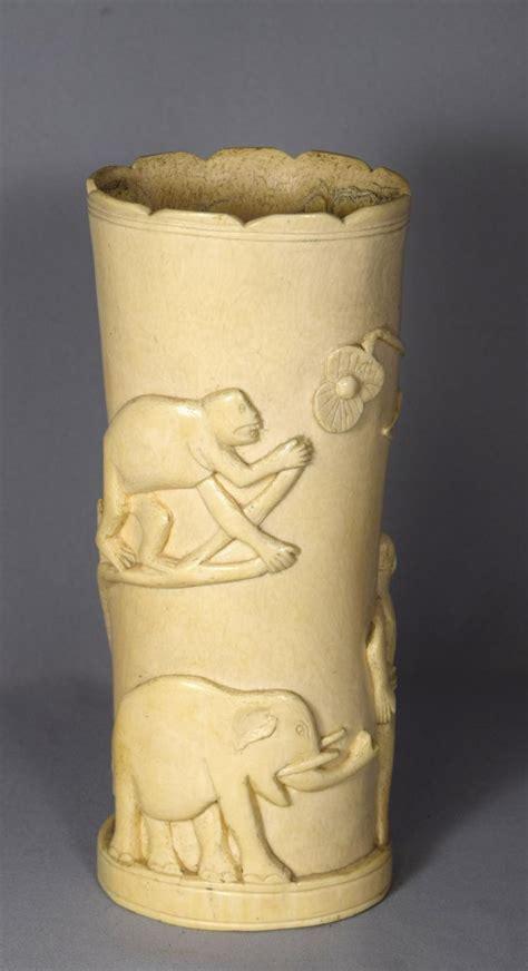 Carved Ivory Vase by Carved Ivory Tusk Vase