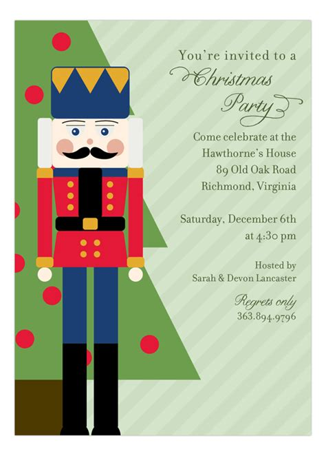 holiday nutcracker invitation polka dot invitations