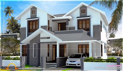 1900 sq feet kerala model sloping roof house house 2200 sq feet modern sloping roof house with cost kerala
