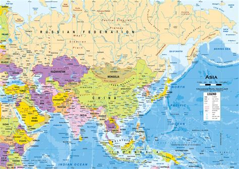 political asia map asia political classroom map wall mural from academia