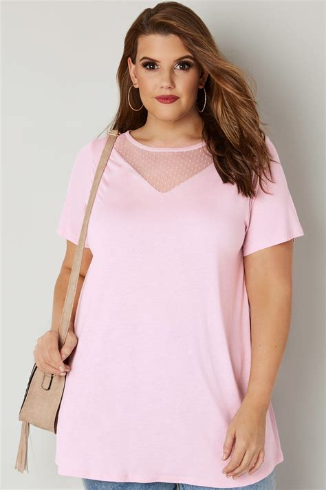 best 32 in tv for 200 pink jersey top with mesh insert bow detail plus size