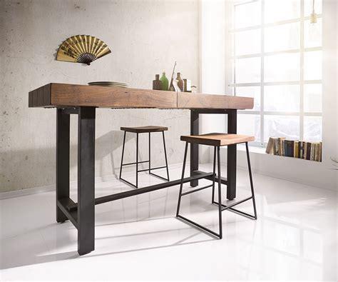 tisch bar bartisch blokk 165x60cm akazie braun mit metallgestell