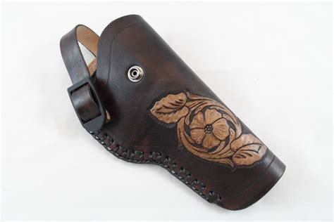 Handmade Leather Gun Holsters - handmade leather gun holster with antique finish