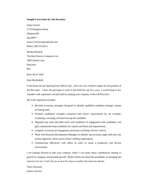 cover letter for recruiter position recruiter cover letter sles and templates