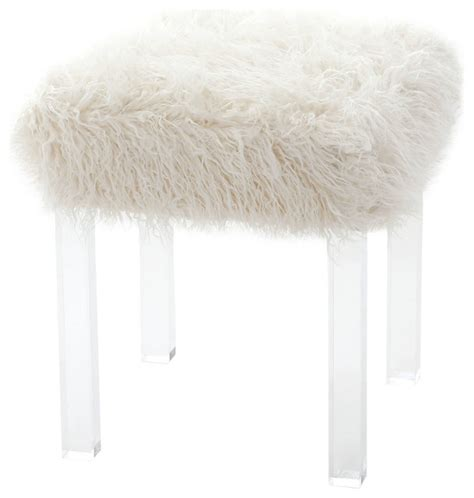 mongolian fur stool best home fashion mongolian faux fur and clear