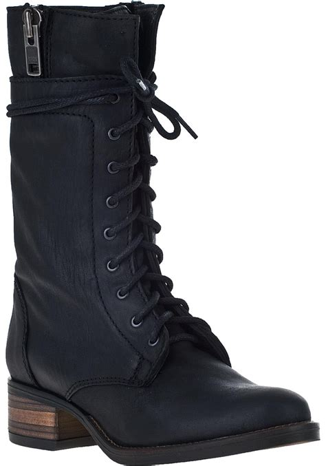 steve madden battell lace up boot black leather in black