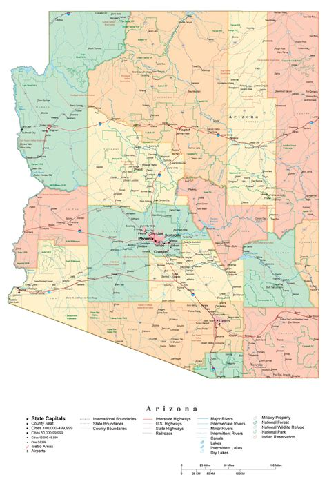 arizona state in usa map administrative map of arizona state arizona state