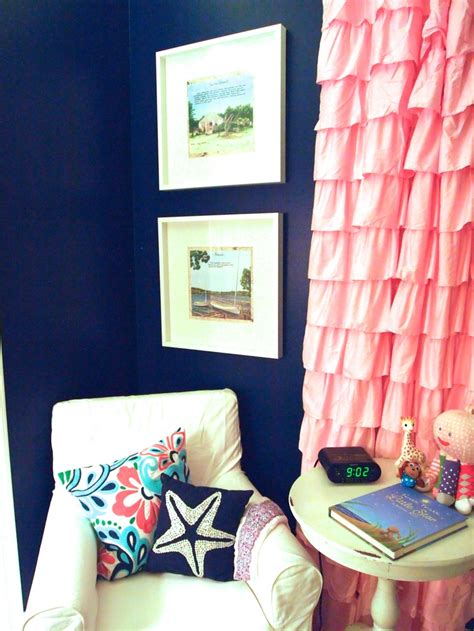 Pink And Navy Curtains Navy Pink Nautical Nursery Kiddos Pinterest