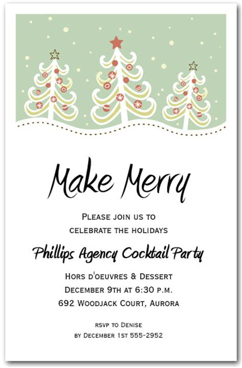 christmas trees on hill holiday invitation christmas