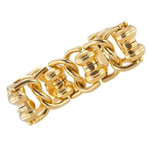 1960s chunky gold link bracelet for sale at 1stdibs