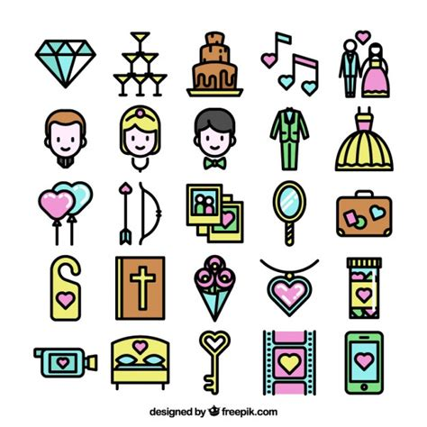 Wedding Vector Free by Colorful Collection Of Wedding Icons Vector Free