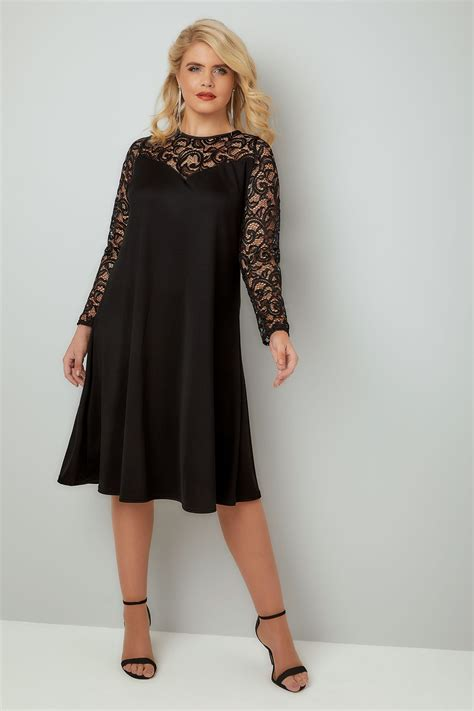 swing dress with lace sleeves black swing dress with lace yoke sleeves plus size 16 to 36