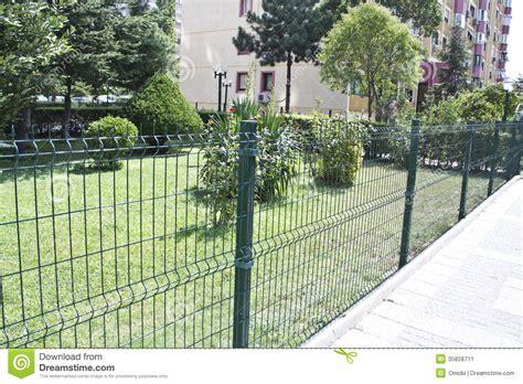 metal yard fence stock image image 35828711