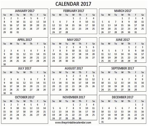 Single Page Calendar 2017
