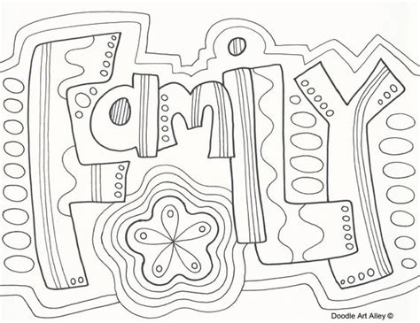 Word Family Coloring Page | quot family quot doodle coloring page zentangle word wuote art