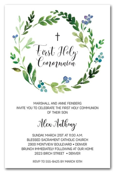 spring wreath first holy communion invitations blue buds wreath first holy communion invitations