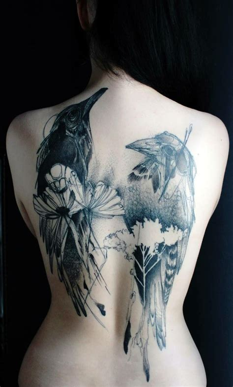 back piece tattoos female back design for by marta lipinski birds
