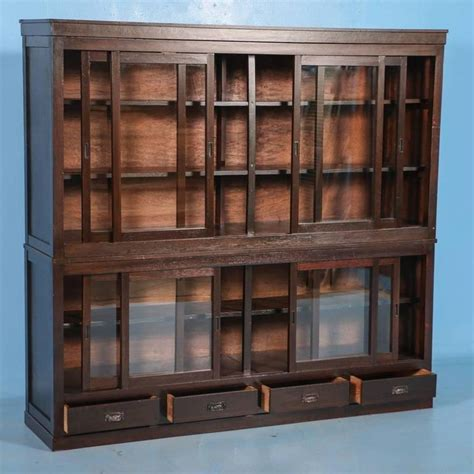 Antique Japanese Bookcase Or Cabinet With Sliding Glass Bookcase With Sliding Glass Doors