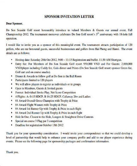 Sponsorship Letter Invitation Sle Sponsorship Letter 9 Exles In Word Pdf