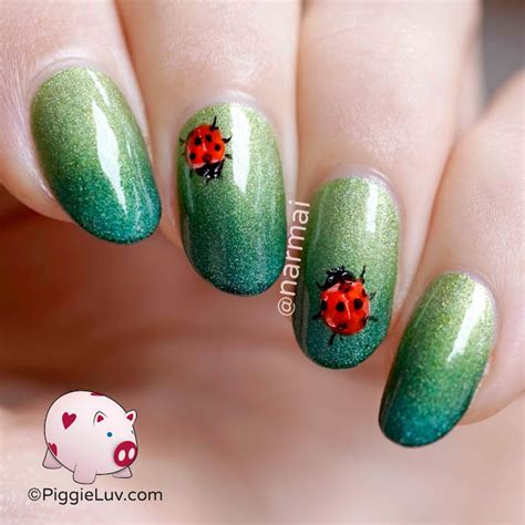 Freehand Nail by Piggieluv Freehand Ladybug Nail