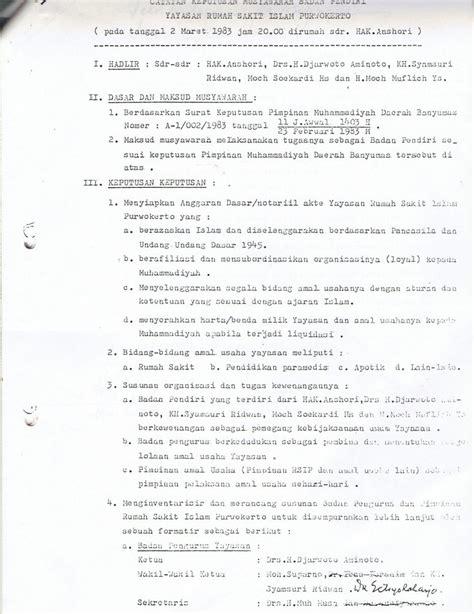 pendirian yayasan islam naskah asli legalitas akta pendirian rsi purwokerto oleh