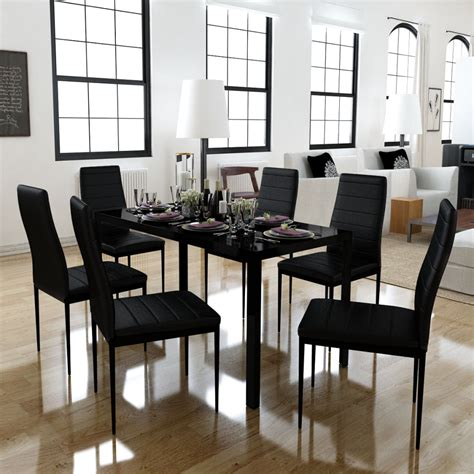 Dining Set With 6 Chairs Dining Set 6 Black Chairs 1 Table Contemporary Design Vidaxl