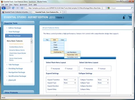 design menu in asp net syncfusion essential tools for asp net