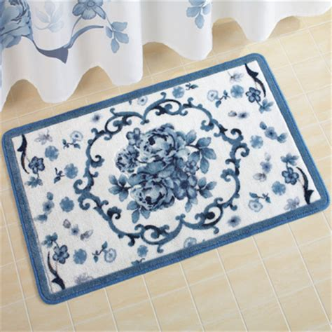floral bath rug blue floral bath rug from collections etc