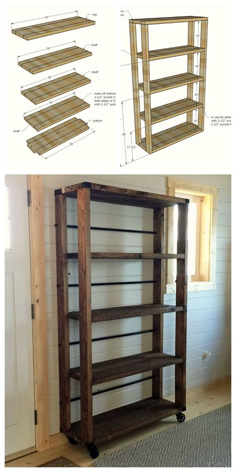 ana white build  reclaimed wood rolling shelf