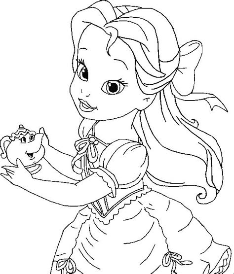 Little Belle Coloring For Kids Princess Coloring Pages Baby Disney Princess Coloring Pages