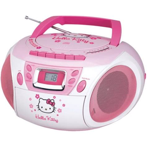 Up To Hello Kittys Smiling On Your Radio Alarm Clock by Hello Kt2028a Stereo Cd Boombox With Cassette Player