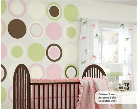 pink and green baby room wall pops baby pink green white dot room package
