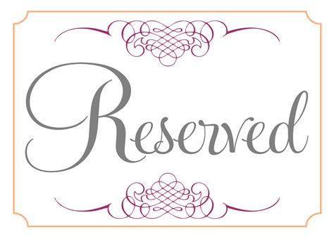 reserved seating signs template room reserved template calendar template 2016