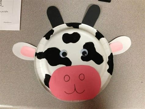paper plate cow craft farm theme prek cow mask from paper plate my pre k