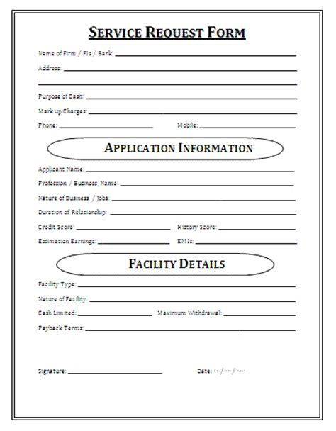 service request form printable forms letters sheets