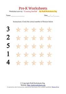 Pre k counting worksheets with starfish pre k worksheets org