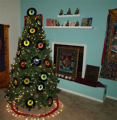 christmas tree on a rock rock and roll tree meets buddhist shrine vintage 45 records 45 records