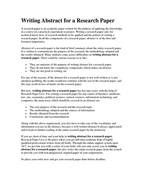 an abstract for a research paper abstract writing exles for research papers