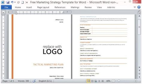 Marketing Plan Template Microsoft Word Free Marketing Strategy Template For Word Free Strategic Plan Template Word