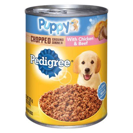 pedigree puppy food walmart pedigree puppy chopped ground dinner with chicken and beef canned food 13 2 oz