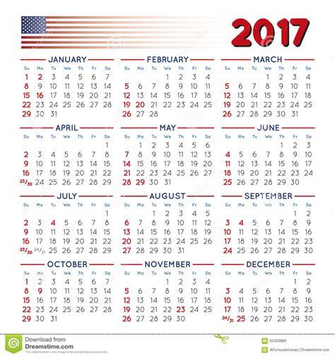 Calendario Lunar Octubre 2017 Usa 2017 Squared Calendar Usa Festive Stock Vector Image