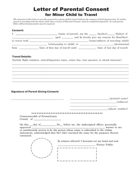 8 Sle Consent Forms Sle Templates Letter Of Consent For Travel Of A Minor Child Template