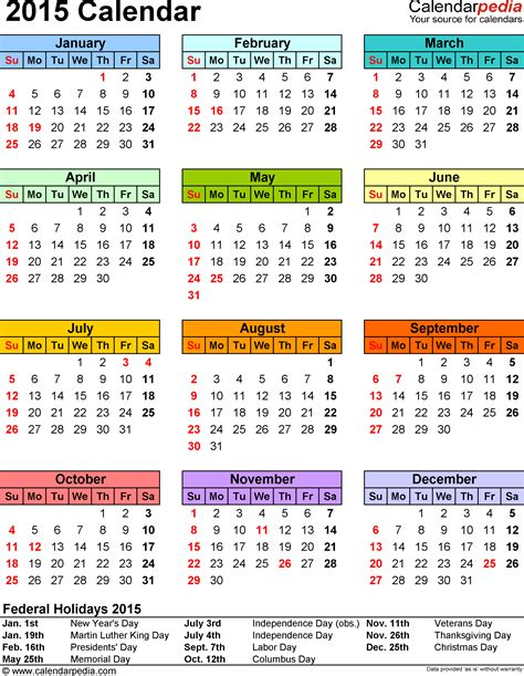 2015 12 month calendar on one page search results