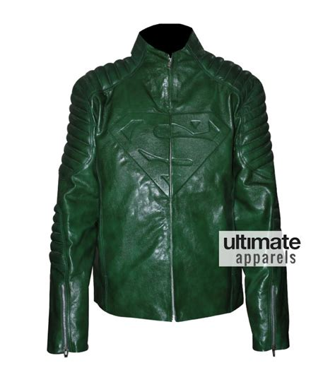Mens Green Leather superman smallville s green leather jacket