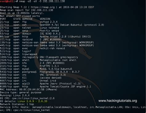 nmap tutorial scan ports metasploitable 2 enumeration hacking tutorials